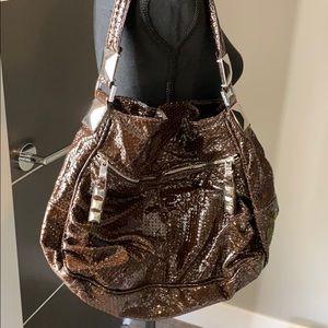 Tylie Malibu brown patent shoulder bag